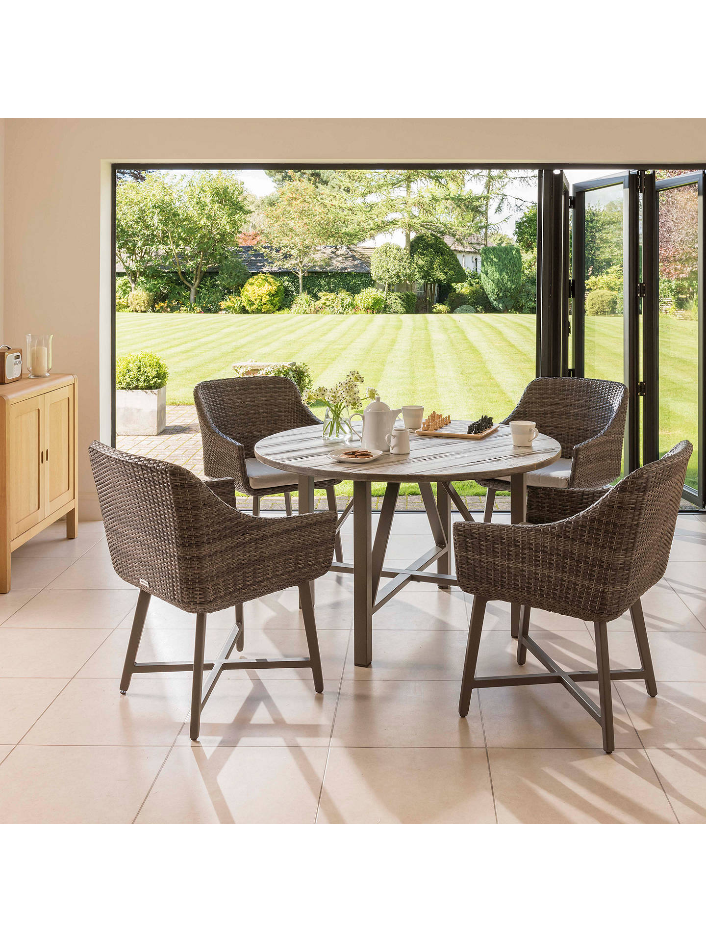 8cbb9484640b ... Buy KETTLER LaMode 4 Seater Garden Dining Table and Chairs Set, Olive  Grey Online at ...