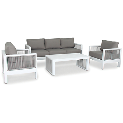 KETTLER Katarina 5 Seater Outdoor Lounge Table and Chairs Set, White/Taupe