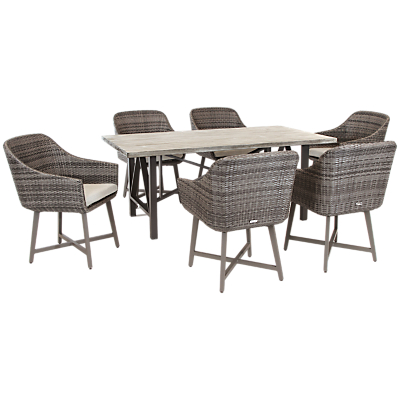 KETTLER LaMode 6 Seater Outdoor Dining Table and Chairs Set, Rattan