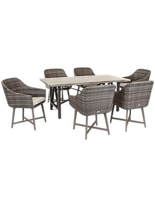 KETTLER LaMode 6 Seater Garden Dining Table and Chairs Set, Olive Grey