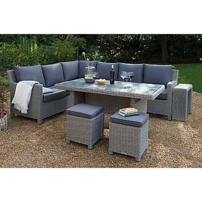 KETTLER Palma 8 Seater Corner Garden Lounge Set with Glass Table Top, White Wash