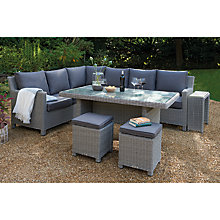Buy KETTLER Palma 8 Seater Corner Garden Lounge Set with Glass Table Top, White Wash Online at johnlewis.com