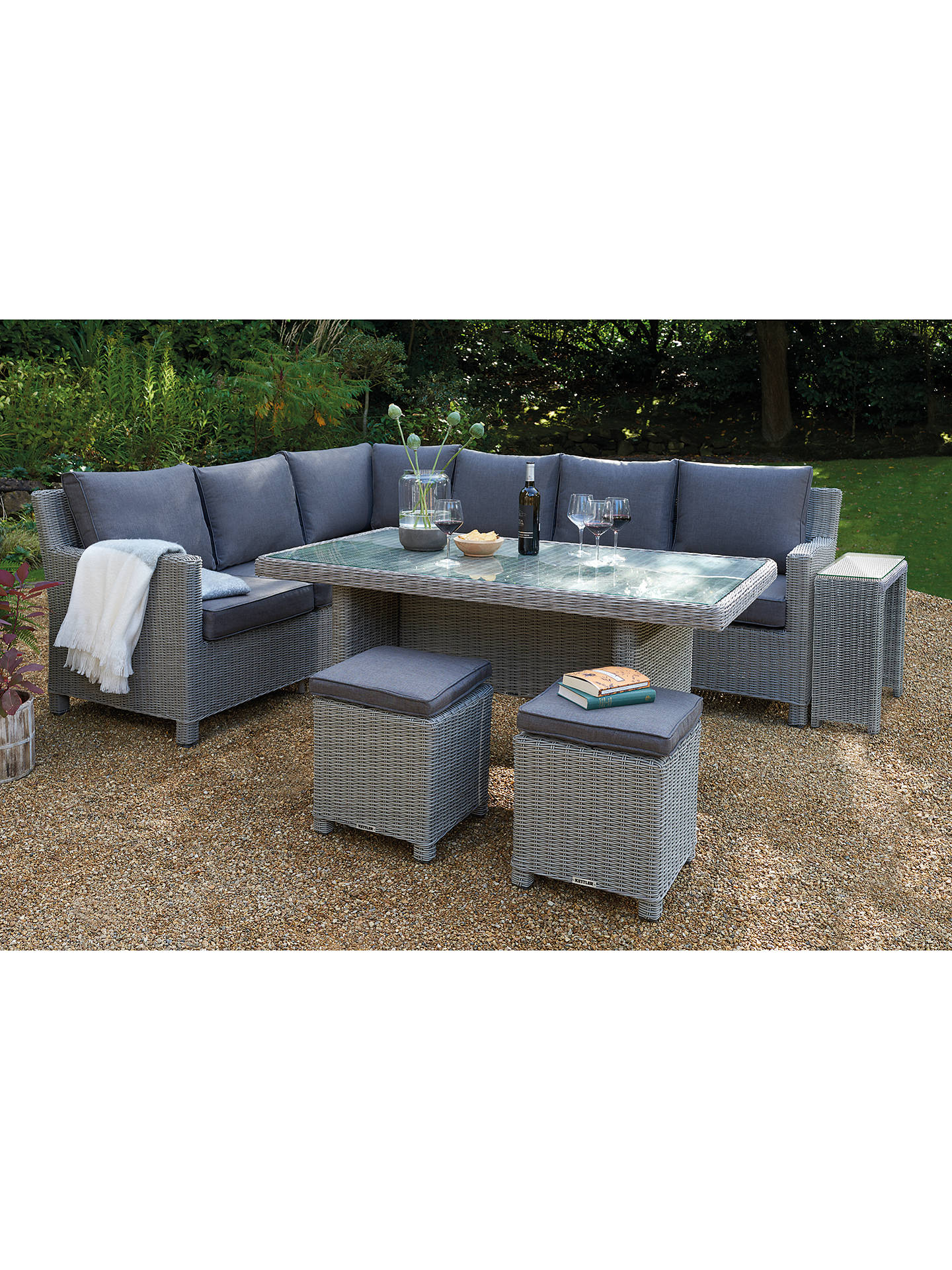 Buy kettler palma 8 seat corner garden glass table chairs lounge set with side table