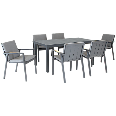 KETTLER Paros 6 Seater Outdoor Dining Table and Chairs Set, Grey