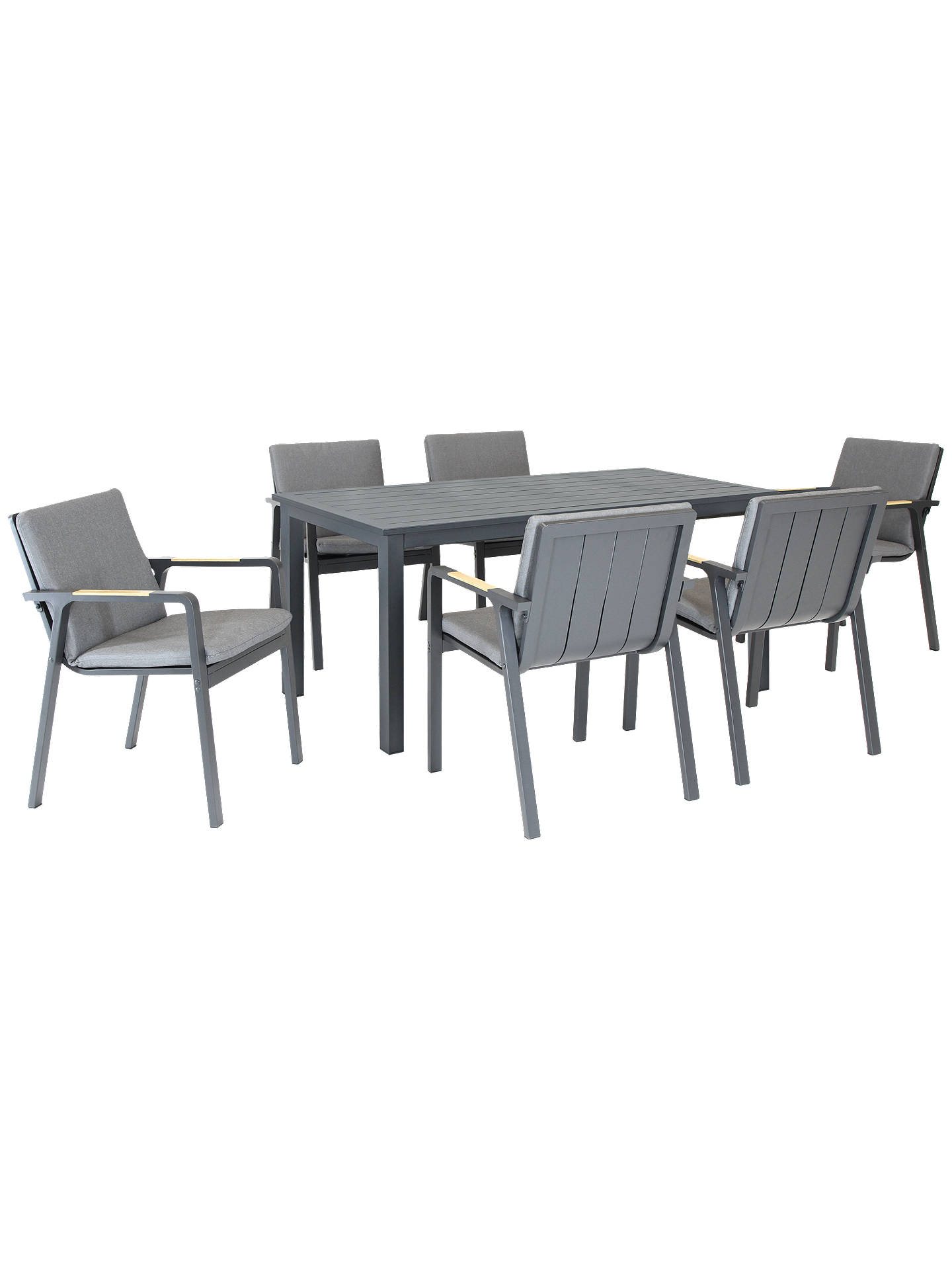 Buykettler paros 6 seater garden dining table and chairs set grey online at johnlewis