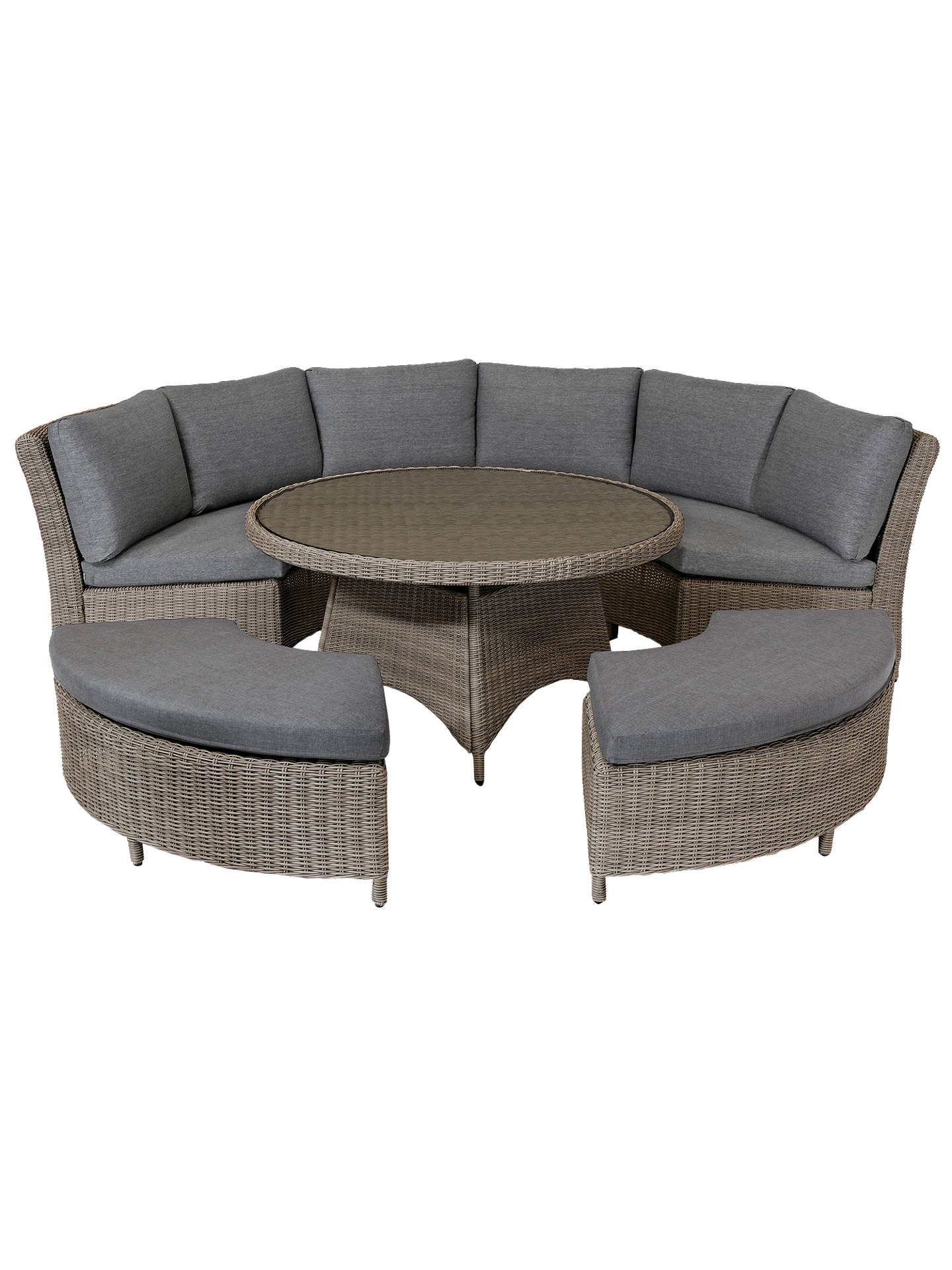 Buy KETTLER Palma 8 Seater Round Garden Dining Table and Chairs Set, Rattan Online at johnlewis.com