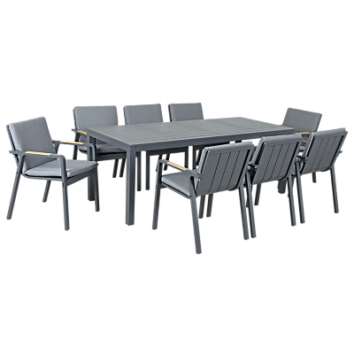 KETTLER Paros 8 Seater Outdoor Dining Table and Chairs Set, Grey