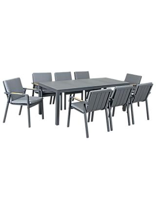 KETTLER Paros 8 Seater Garden Dining Table and Chairs Set, Grey