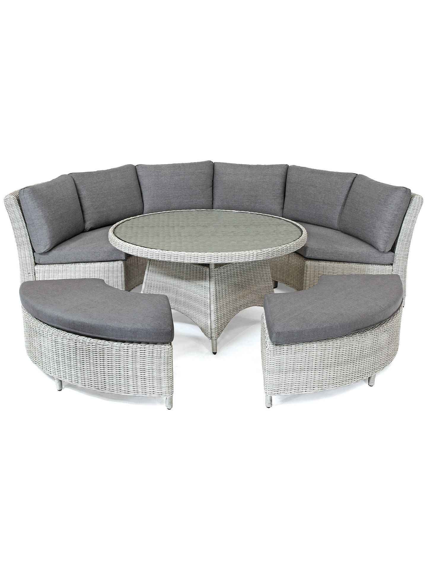 Kettler Palma 8 Seater Round Garden Dining Table And Chairs Set White Wash