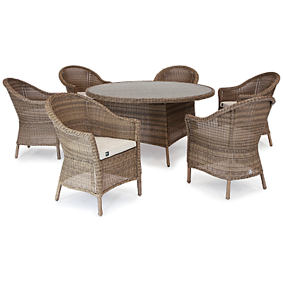 KETTLER RHS Harlow Carr 6 Seater Outdoor Dining Table and Chairs Set, Natural
