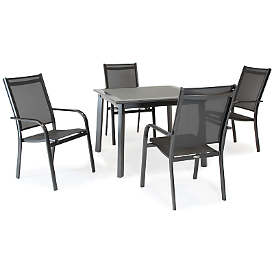 KETTLER Surf 4 Seater Outdoor Dining Table and Stacking Chairs Set, Grey