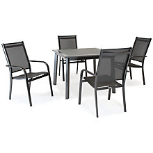 Buy KETTLER Surf 4 Seater Outdoor Dining Table and Stacking Chairs Set, Grey Online at johnlewis.com