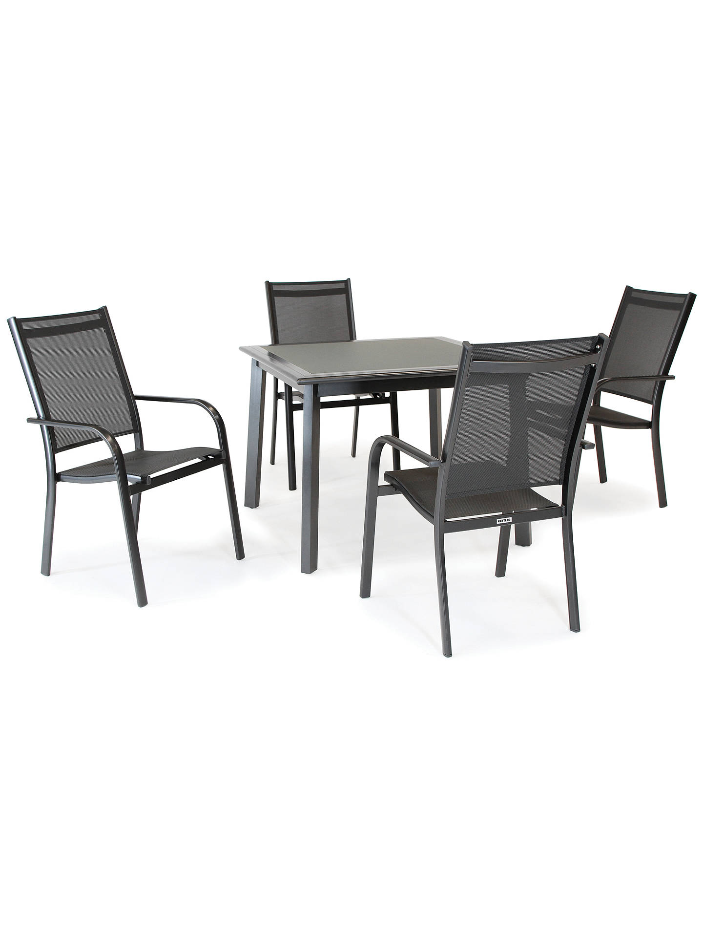 Buykettler surf 4 seater garden dining table and stacking chairs set grey online at johnlewis