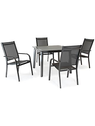 KETTLER Surf 4 Seater Garden Dining Table and Stacking Chairs Set, Grey