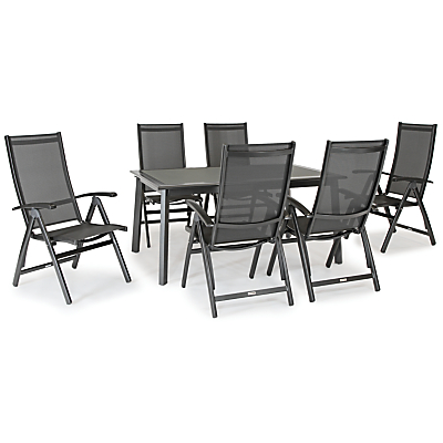KETTLER Surf 6 Seater Outdoor Dining Table and Reclining Chairs Set, Grey