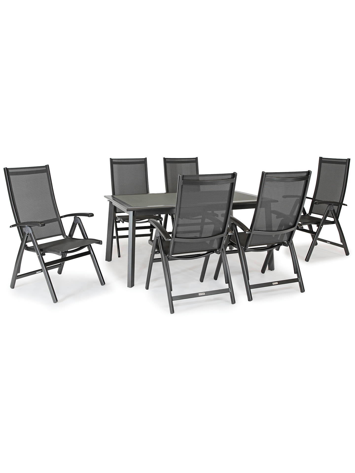 KETTLER Surf 6 Seater Garden Dining Table and Reclining Chairs Set, Grey