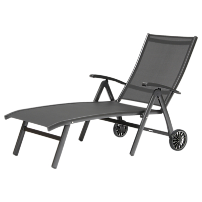 KETTLER Surf Folding Adjustable Sun Lounger, Grey