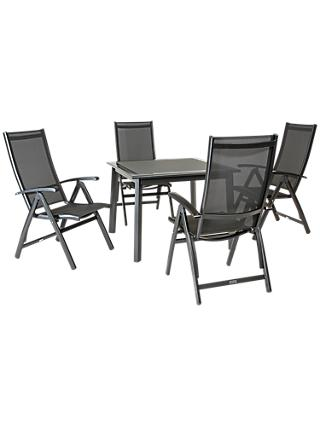 KETTLER Surf 4 Seater Outdoor Multi Position Reclining Chairs and Dining Table Set, Grey