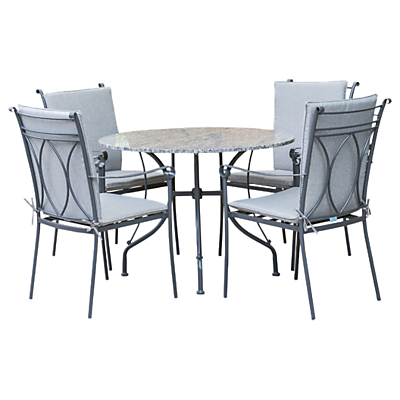 LG Outdoor Constantine 4 Seater Dining Table and Chairs Set, Granite