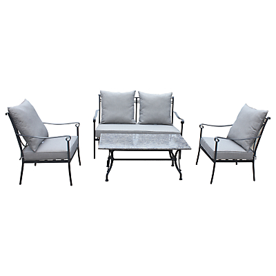 LG Outdoor Constantine 4 Seater Table and Chairs Lounging Set, Granite