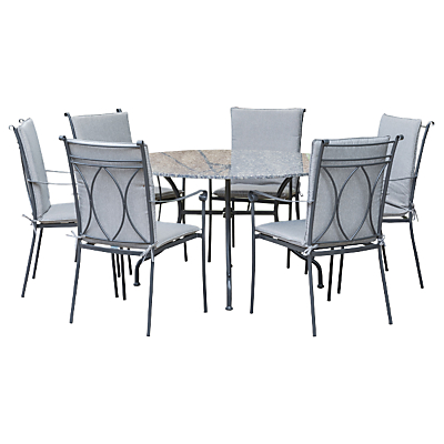 LG Outdoor Constantine 6 Seater Dining Table and Chairs Set, Granite
