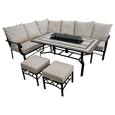 LG Outdoor Casablanca 7 Seater Outdoor Modular Dining Table and Chairs Set with Firepit, Charcoal