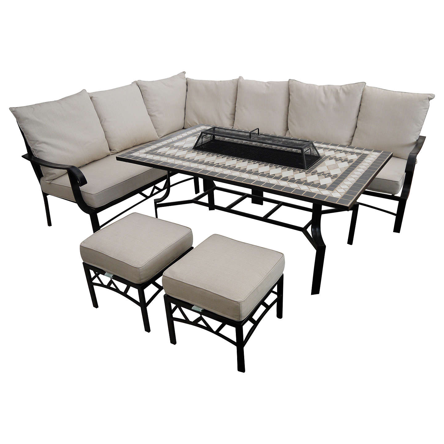 BuyLG Outdoor Casablanca 7 Seater Garden Modular Dining Table And Chairs  Set With Firepit, Charcoal ...