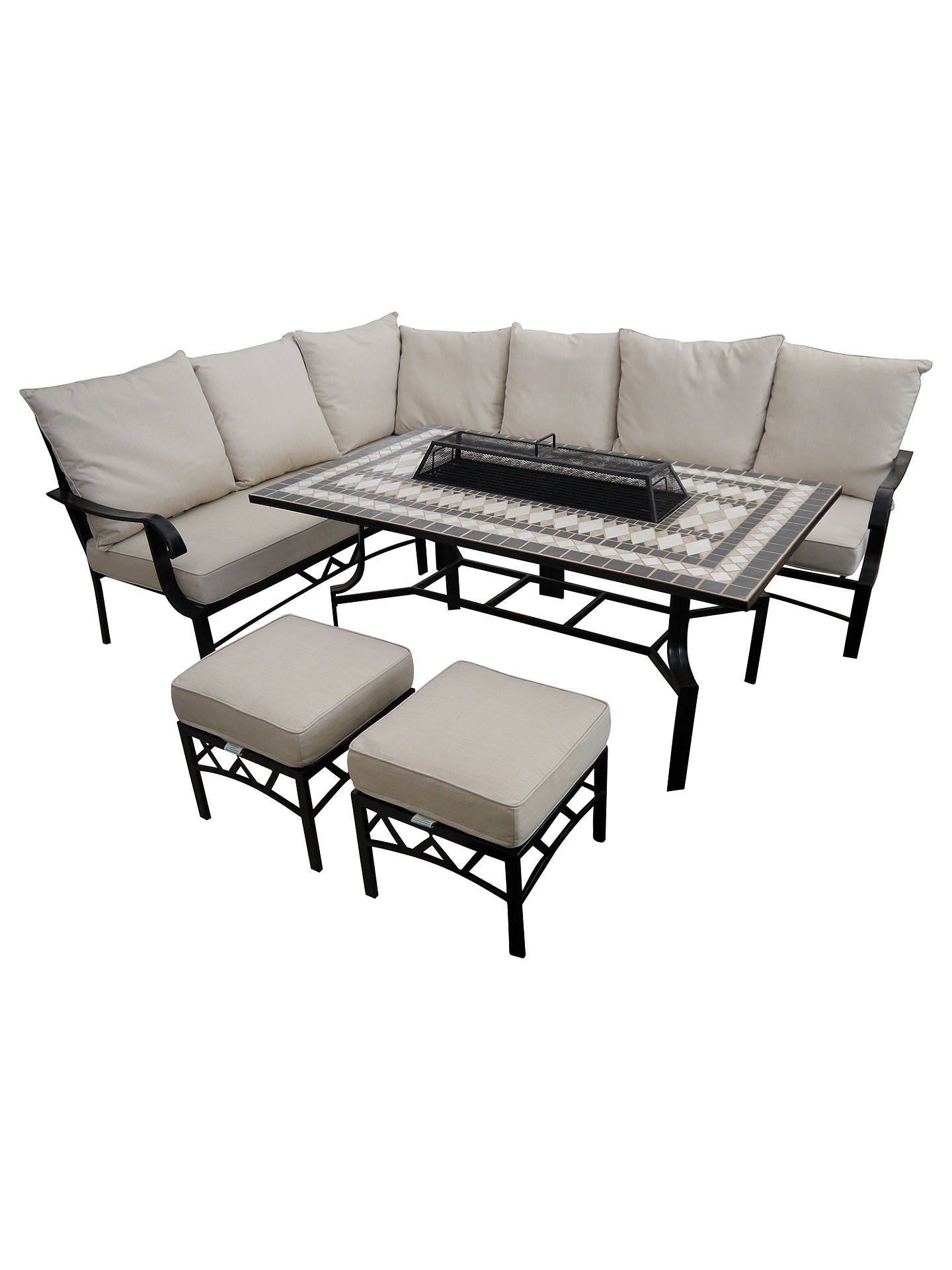 Buylg outdoor casablanca 7 seater garden modular dining table and chairs set with firepit charcoal
