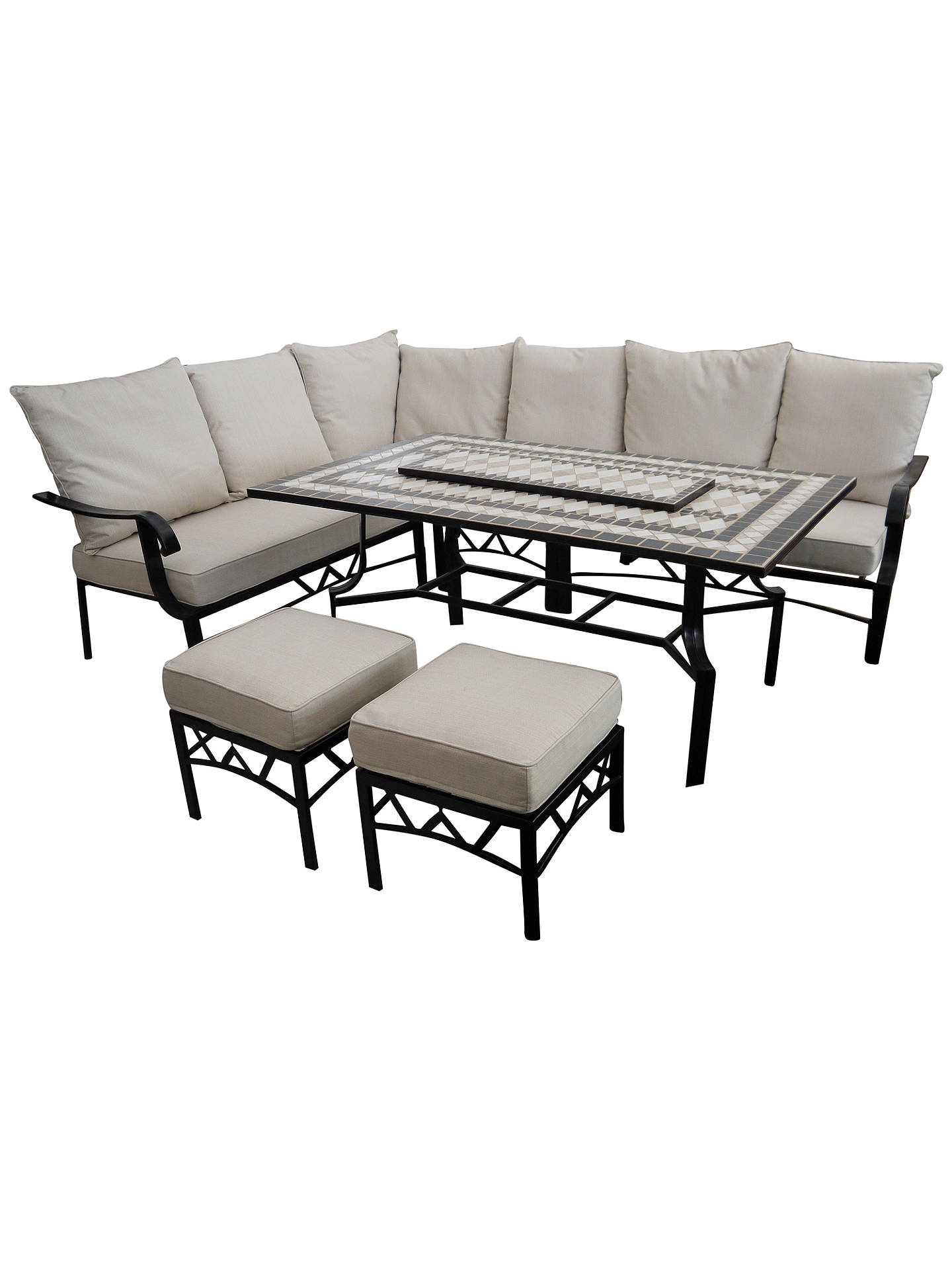 Groovy Lg Outdoor Casablanca 7 Seater Garden Modular Dining Table And Chairs Set With Firepit Charcoal Machost Co Dining Chair Design Ideas Machostcouk