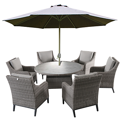 LG Outdoor Copenhagen 6 Seater Outdoor Dining Table and Chairs Set with Parasol