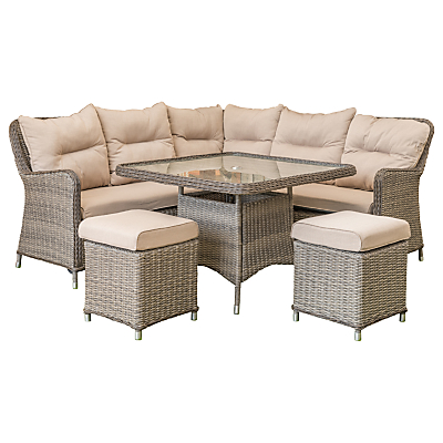 LG Outdoor Marseille 7 Seater Compact Modular Square Dining Table and Chairs Lounging Set, Natural