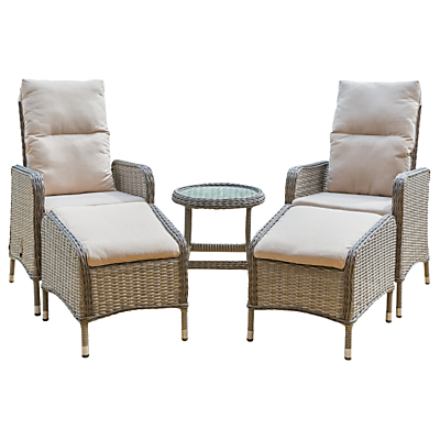 LG Outdoor Marseille 2 Seater Reclining Garden Chairs with Footstools and Side Table Set, Natural