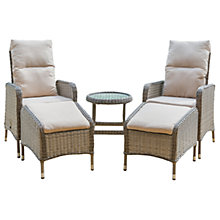 Buy LG Outdoor Marseille 2 Seater Reclining Chairs with Footstools and Side Table Set, Natural Online at johnlewis.com
