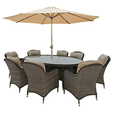 Buy LG Outdoor Marseille 8 Seater Oval Dining Table and Chairs Set with Parasol, Natural Online at johnlewis.com