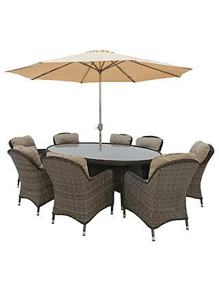 LG Outdoor Marseille 8 Seater Oval Garden Dining Table and Chairs Set with Parasol, Natural