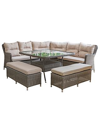 LG Outdoor Marseille 9 Seater Modular Square Garden Dining Table and Chairs Lounging Set, Natural