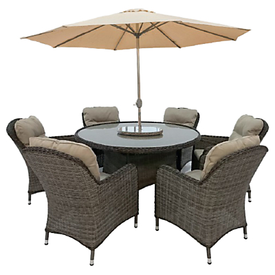 LG Outdoor Marseille 6 Seater Dining Table and Chairs Set with Parasol, Natural