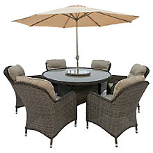 Buy LG Outdoor Marseille 6 Seater Dining Table and Chairs Set with Parasol, Natural Online at johnlewis.com