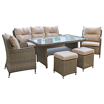 LG Outdoor Marseille 7 Seater Dining Table and Chairs Lounging Set, Natural
