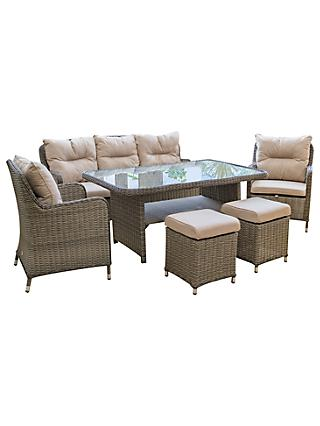 LG Outdoor Marseille 7 Seater Garden Dining Table and Chairs Lounging Set, Natural