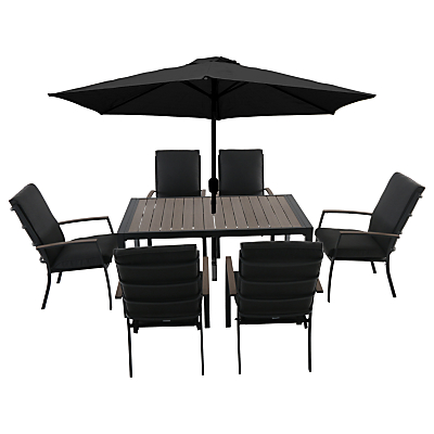 LG Outdoor Milan 6 Seater Outdoor Dining Table and Chairs Set with Parasol