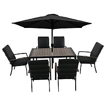 Buy LG Outdoor Milan 6 Seater Outdoor Dining Table and Chairs Set with Parasol Online at johnlewis.com
