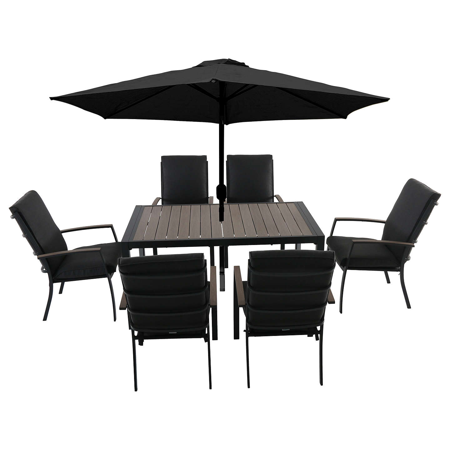 BuyLG Outdoor Milan 6 Seater Garden Dining Table And Chairs Set With  Parasol Online At Johnlewis ...