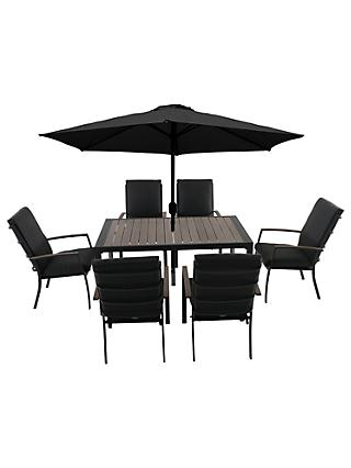 LG Outdoor Milan 6 Seater Garden Dining Table and Chairs Set with Parasol