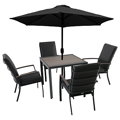 LG Outdoor Milan 4 Seater Outdoor Dining Table and Chairs Set with Parasol