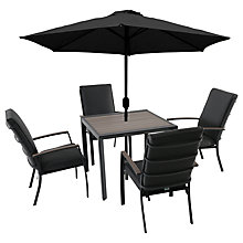 Buy LG Outdoor Milan 4 Seater Outdoor Dining Table and Chairs Set with Parasol Online at johnlewis.com