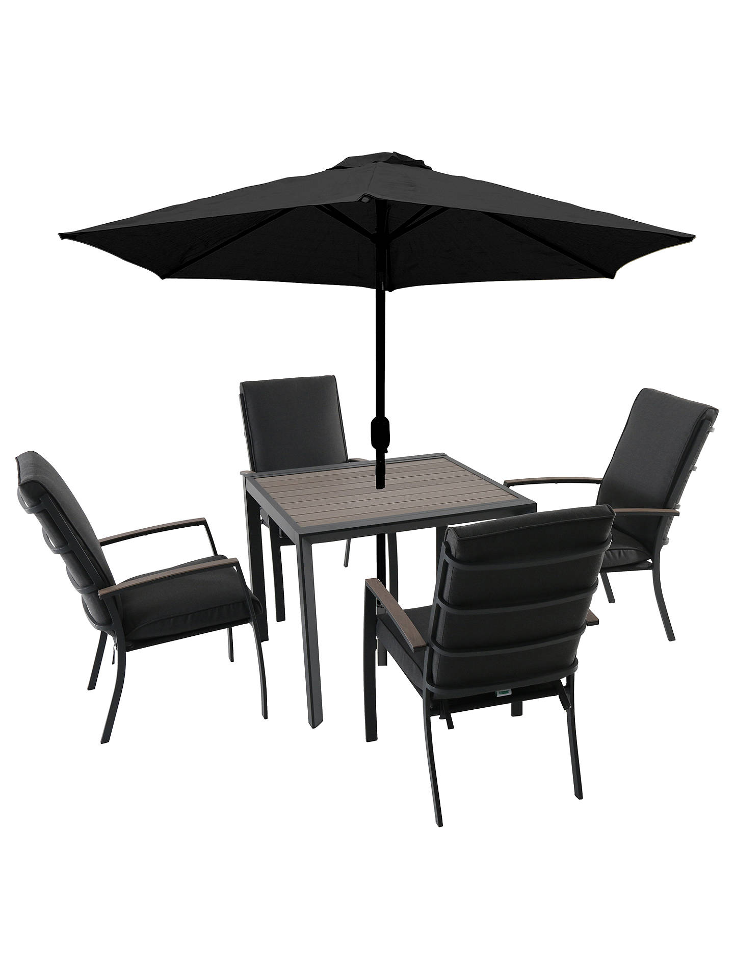 Buylg outdoor milan 4 seater garden dining table chairs set with parasol online at johnlewis