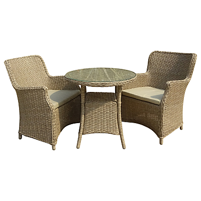 LG Outdoor Saigon 2 Seater Bistro Table and Chairs Set, Natural Grey