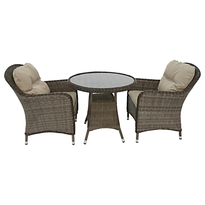 LG Outdoor Marseille 2 Seater Bistro Table and Chairs Set, Natural