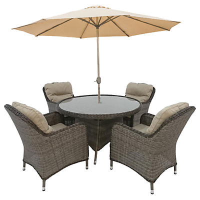 LG Outdoor Marseille 4 Seater Dining Table and Chairs Set with Parasol, Natural